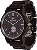 Wooden Watch for Men Maui Kool Kaanapali Collection Analog Large Face Wood Watch Bamboo Box (C7 - Black Face)