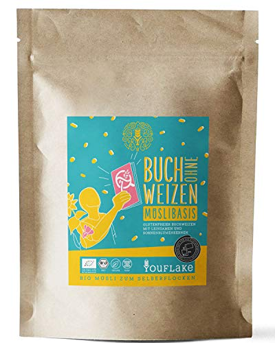 YouFlake Müsli Basis (Bio) BUCH ohne WEIZEN | glutenfreies Müsli für Flockenquetsche | Nackthafer, Dinkel, Sesam & Leinsamen | 2,5kg