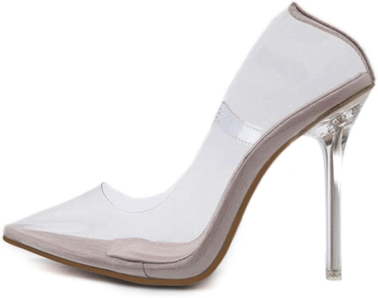 Fortune-god Clear PVC Transparent Pumps Sandals High Heels Point Toes Womens Party shoes Nightclub,Apricot,10