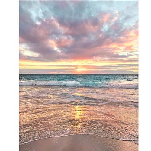 5D Diamond Painting Diamant Malerei Painting Bilder, Wowdecor Welle Strand Sonnenuntergang Dunkle Wolken Full Set Groß DIY Diamant Gemälde Malen Nach Zahlen