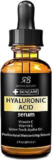 Radha Beauty Suero de ácido hialurónico para la cara con vitamina C + E + té verde y aceite de jojoba para antienvejecimiento, arrugas y líneas finas: para una piel radiante y saludable 60mL