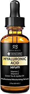 Radha Beauty Hyaluronic Acid Serum for Face, 2 fl. oz - Infused with Vitamin C + E + Green Tea & Jojoba Oil for Anti-Aging, Wrinkles, and Fine Lines - For Radiant and Healthy Skin