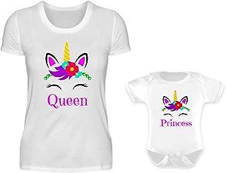 PlimPlom Mutter Baby Partnerlook Tshirt Und Baby Body Strampler Set Einhorn Queen Und Princess Rundhals Mama Kind Partner Look Für Damen Und Mädchen S & 0-6 Monate