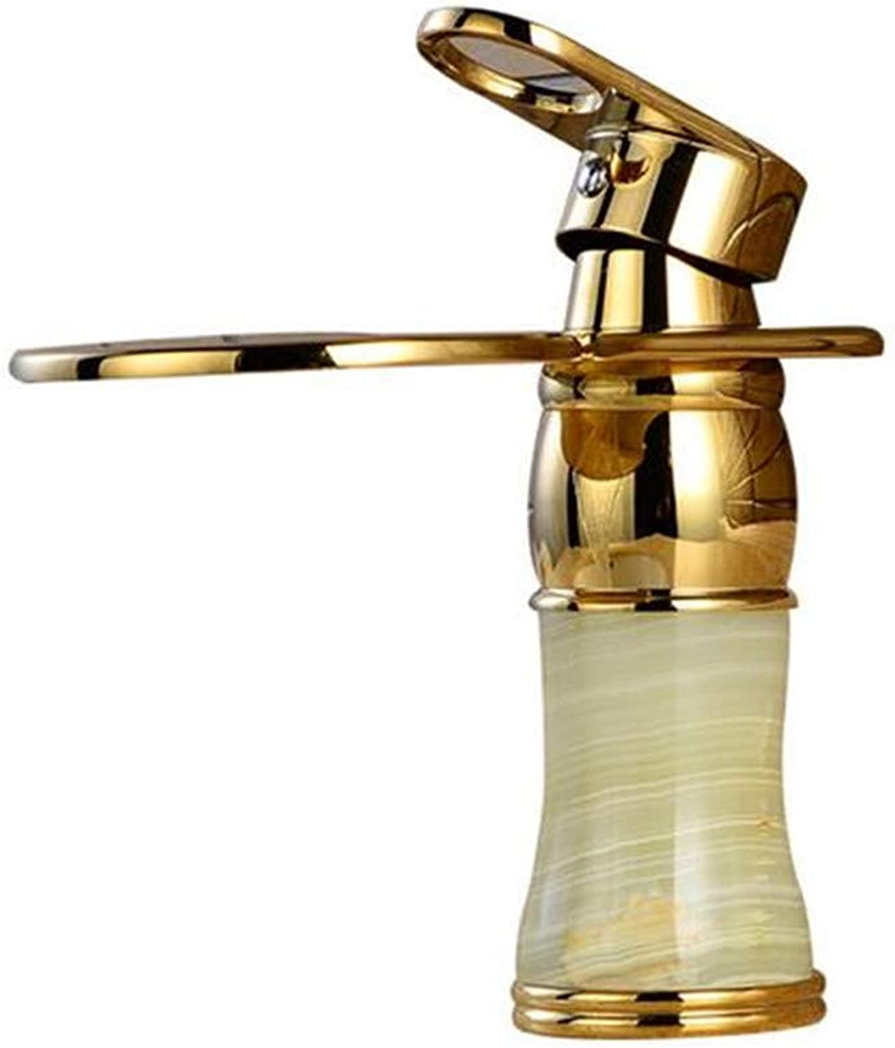 Basin Faucet Bathroom Sink Faucet All-Copper golden Waterfall Sink Faucet Hot and Cold Jade Sink Washbasin Faucet Antique Brass Faucet