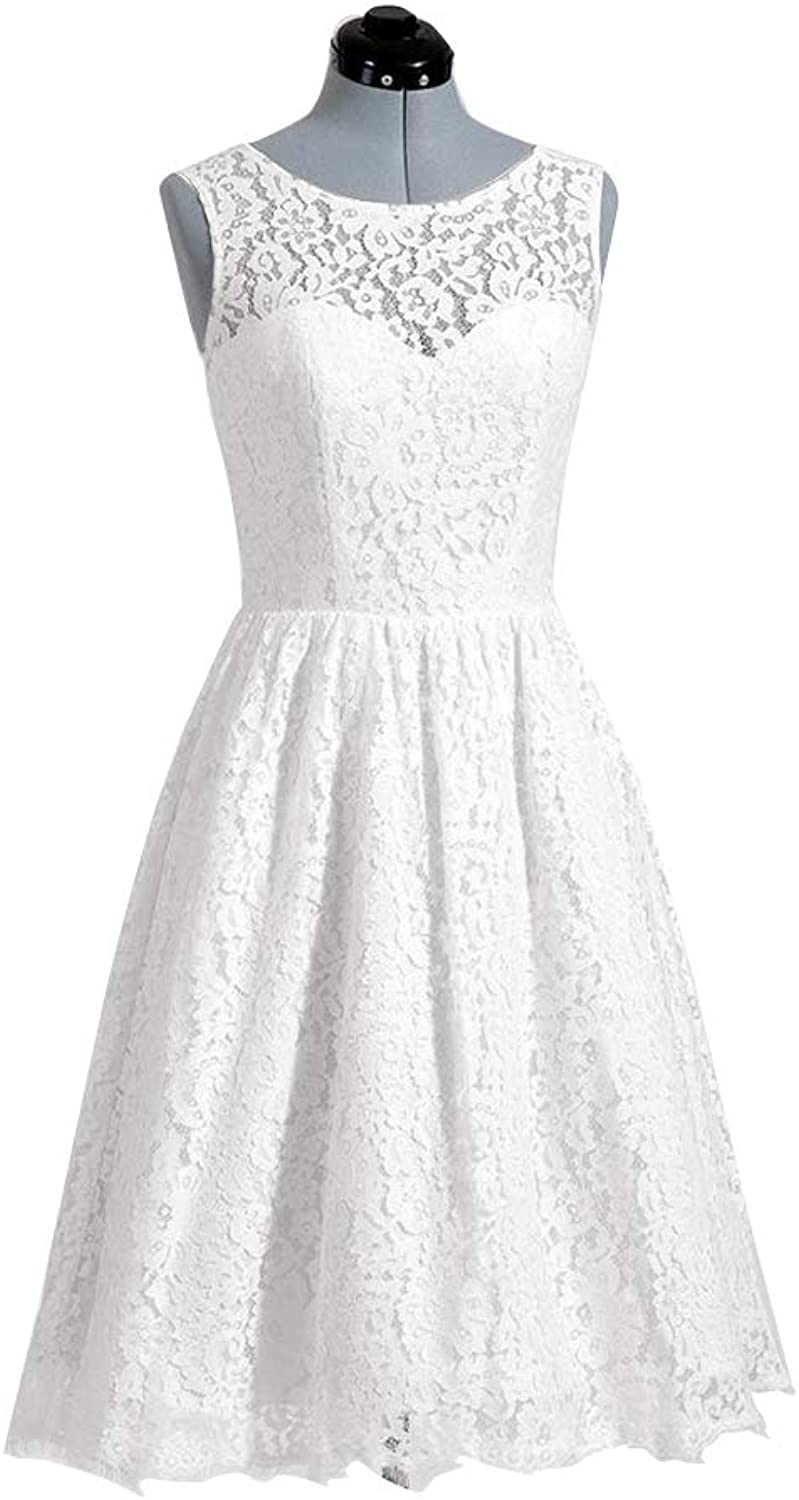 Stylefun Women's Short Beach Wedding Dress Lace Dresses for Bride A Line Bridal Gown 1950s WD010