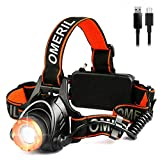 OMERIL Lampe Frontale Puissante,Torche Frontale USB Rechargeable LED CREE XML-T6,2000 LM,500 Mètres,3 Modes...