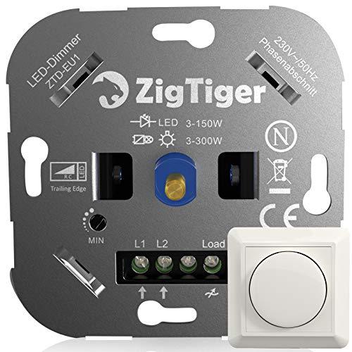 Zigtiger LED-Dimmer-Schalter, Unterputz Dimmschalter, Drehdimmer geeignet für Dimmbare LED 3-150 W und Halogen 3-300 W, Ohne Klemmkrallen, Phasenabschnitt, 3 Jahre Garantie, weiß