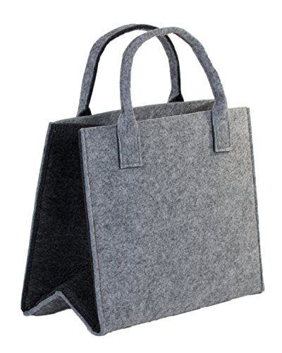 Brandsseller Praktische Einkaufstasche Shoppingbag Freizeittsche Aufbewahrungsbehälter aus Filz - ca. 35 x 20 x 28 cm - Hellgrau/Dunkelgrau