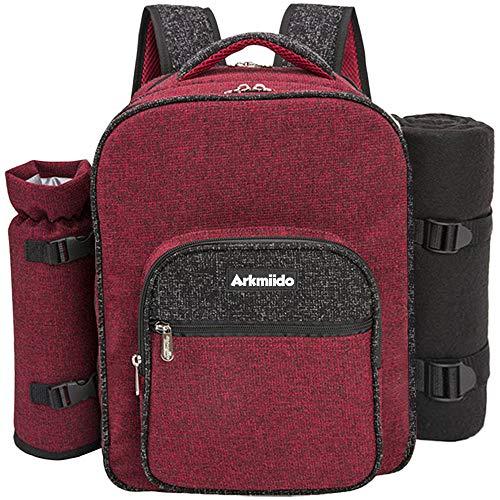 Arkmiido Picknick Rucksack für 4 Personen, Picknick Rucksack Hamper Kühltasche mit Geschirr Set & Decke (Rot)