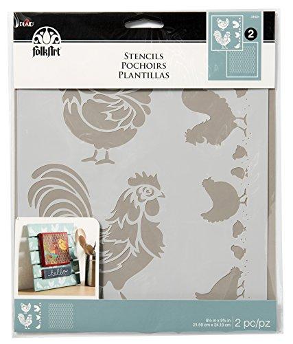 FolkArt Chicken Coop, 8.5 x 9.5-Inch Coordinating Stencils (Pack of 2), 8.5 x 9.5, 3 Count