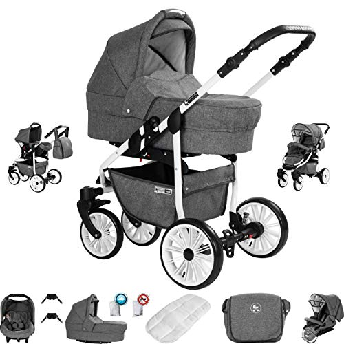 Friedrich Hugo Berlin | 3 in 1 Kombi Kinderwagen Komplettset | GEL Reifen | Farbe: Grey and Grey Day