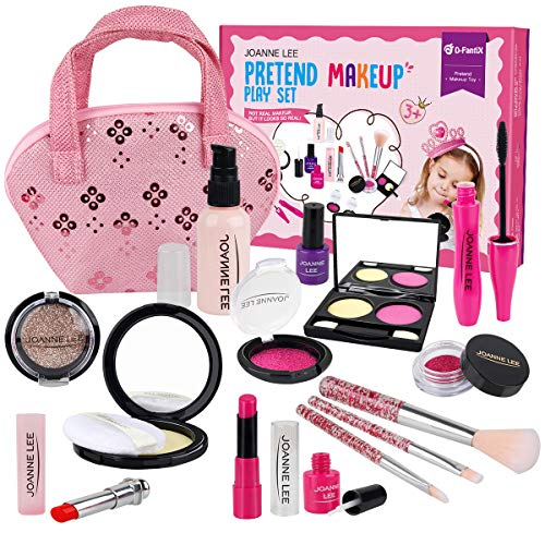 D-FantiX 15Pcs Kids Makeup Kit, Pretend Play Makeup Set for Little Girls Toddlers 3 4 5 6 Year Old Kids Fake Make Up Toys with Plastic Brushes Cosmetic Bag