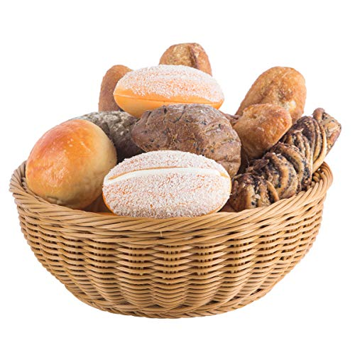 Wicker Bread Baskets for Serving, 12' Round Rattan Fruit Basket, Tabletop Woven Food Serving Basket for Kitchen
