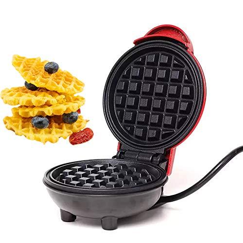 Aiboria Waffles Piastra Colore Rosso,350W Macchine per Waffle Elettrico Antiaderente Macchina per Waffel Waffles Piastra Piastra elettrica da Cucina Sandwich e Waffle per Cialde, Panini, Frittelle