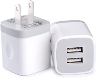 Wall Charger, Vifigen 2-Pack USB 2.1AMP Universal Charger Block Dual Port Plug Compatible for iPhone X/8/7/7 Plus 6/6 Plus 5S 5 4S Samsung S5 S4 S3, Note 5, HTC, LG and More Device