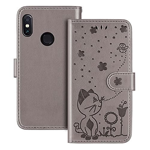 The Grafu Hülle für Xiaomi MI A2 Lite/Redmi 6 Pro, PU Leder Stoßfest Klapphülle Handyhülle für Xiaomi MI A2 Lite/Redmi 6 Pro, Brieftasche Schutzhülle mit Kartenfach, Grau