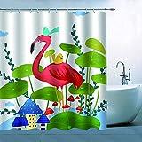 N\A Dibujos Animados Flamingo Cortina de Ducha Decoración Orilla del Agua Flamenco Rojo Verde Amarillo Pájaros Setas Hojas de Loto Verde Casa Azul Cortina de baño Poliéster Impermeable