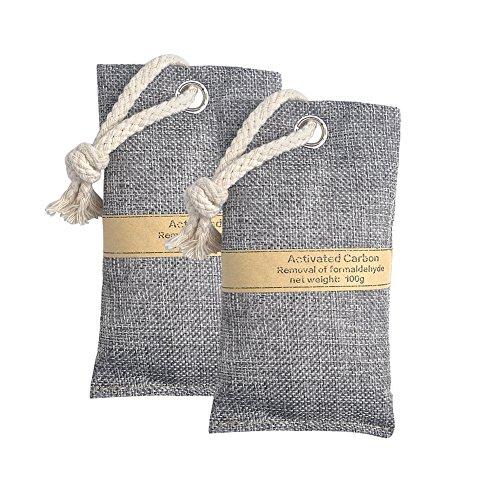 Motivtech 2confezione odore rimuovere Air Purifying bag, attivato carbone di bambù odore Absorber deumidificatore fumo odore di rimozione per auto scarpe WC bagno armadio armadio armadio e cassetto