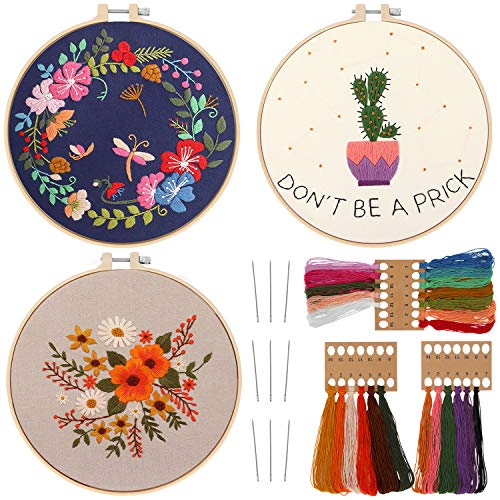 3 Pack Embroidery Kit for Beginners Cross Stitch Kit, Embroidery Kits for Adults,Embroidery Starter Kit with Instructions Include Embroidery Clothes,Embroidery Hoops Threads Needles