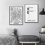 Mapa del mundo en blanco y negro, póster artístico de pared, mapas de la ciudad de Berlín, Colonia, lienzo, línea de pintura, imágenes, decoración del hogar, 50x70cmx2, sin marco