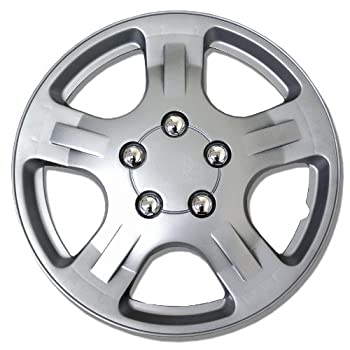 TuningPros WSC-051S14 - Pack of 4 Hubcaps - 14-Inches Style Snap-On  Pop-On  Type Metallic Silver Wheel Covers Hub-caps