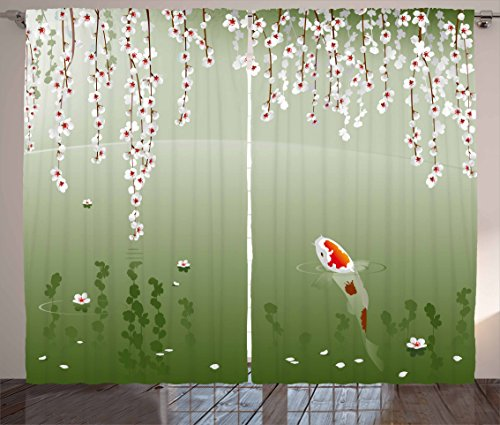 Lunarable Koi Fish Curtains, Japanese Koi Fish Painting Style Hanging Cherry Flowers Floating Leaves, Living Room Bedroom Window Drapes 2 Panel Set, 108' X 84', White Orange