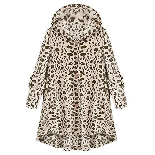 Yczx Damen Kapuzenpullover Hoodie Casual Winter Teddy-Fleece Langarm Oversize Blusen Sweatshirt Mantel Tops Knopf Kapuzenmantel Pelzigen Leopardenmuster Warm Herbstmantel 5XL