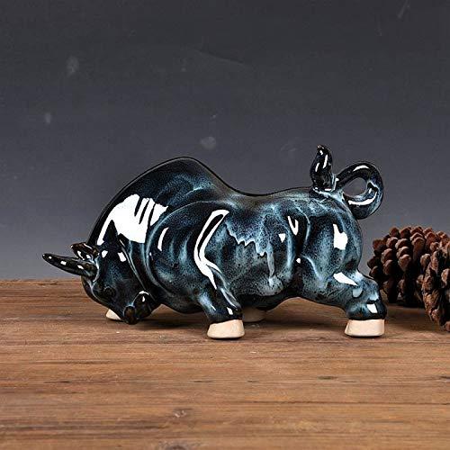 Estatua De Escultura - Creativo Multicolor De Estilo Chino Tradicional Toro De Porcelana Toro Miniatura Hecho A Mano De Cerámica Muñeca De Toreo Adornos Personalizados Decoración De Artesanía Ad