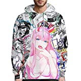 3D Print Hoodie Ahegao Hentai Anime Cosplay Pullover Long Sleeve Hooded Sweatshirt For Unisex