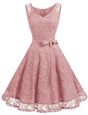 Dressystar Women Floral Lace Bridesmaid Party Dress Short Prom Dress V Neck M Blush