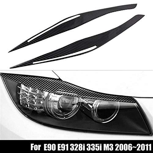 GXDD Carbon-Faser-Scheinwerfer Augenlid Augenbrauen Tasche Aufkleber Trim Gepasst For BMW E90 E91 328I 335I M3 2006-2011 Autoleuchten Und Zubehör (Color : Black)