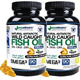 (Pack of 2) Natural Antarctic Wild Caught Omega 3 Fish Oil DPA-EPA-DHA Supplement by Ecostream Naturals - 2,900 Milligrams Triple Strength Ultra Pure Concentrated Soft-Gels - No Fish Tasting Burps