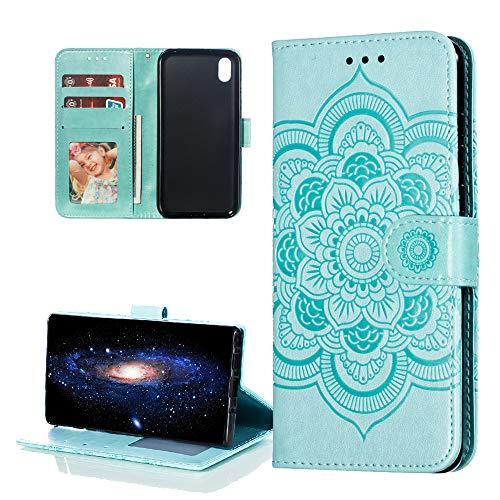 COTDINFOR Etui für Huawei Y5 2019 Hülle PU Leder Cover Schutzhülle Magnet Tasche Flip Handytasche im Bookstyle Stand Kartenfächer Lederhülle für Huawei Honor 8S / Y5 2019 Green Mandala LD.