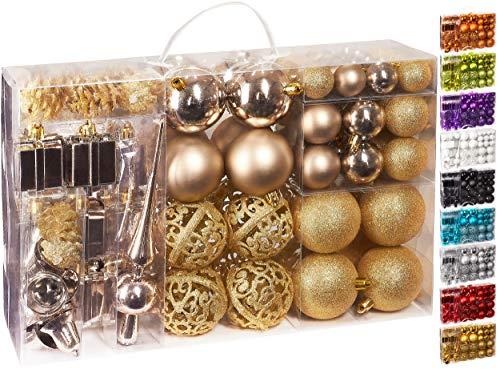 Brubaker Set di 101 Accessori Decorativi per L'Albero di Natale - addobbi Natalizie in Color...