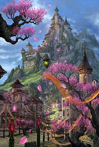 KELDOG® Dream Castle Puzzle Jigsaws, Landscape Puzzles 1000 Pieces, Adult Children Challenging Color Art Painting Puzzles Jigsaw Toys - Mushroom Lamp
