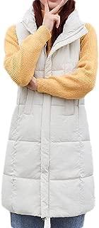Macondoo Women's Puffer Vest Windbreaker Quilted Stand Collar Winter Down Vest Coat