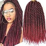 Mambo Twist Crochet trenzas de pelo 1 paquete de 18 pulgadas Kanekalon Senegalese Jumbo Twist Crochet Hair Afro trenzado extensiones de pelo sintético 12 mechones/paquete (mechón)