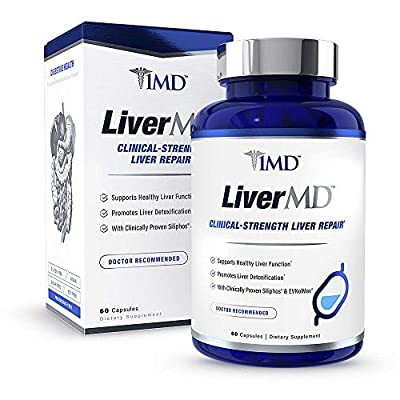 1MD LiverMD - Liver Cleanse Supplement   Siliphos Milk Thistle Extract - Highly Bioavailable, Clinically Studied for Liver Detox   60 Capsules from 1MD