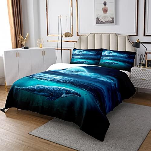 Juego de colcha de ballena, Luna brillante con nube gigante marino vida azul oscuro, 3 piezas de colcha decorativa con 2 fundas de almohada, tamaño doble