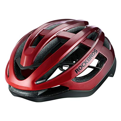 ROCK BROS Road Bike Helmet for Men Women Adult Bicycle Helmet Cycling Race Helmet Gradient Lightweight for Mountain & Road Bike Gradient Red L