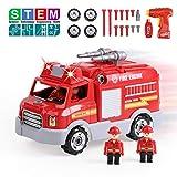 REMOKING Auto Spielzeug für Kinder, Feuerwehrauto Fahrzeuge mit Ton und Licht, Montage Spielzeug mit Drill Werkzeug, Feuerwehrmann-Rollenspiel Spielzeug Set, STEM pädagogisches...