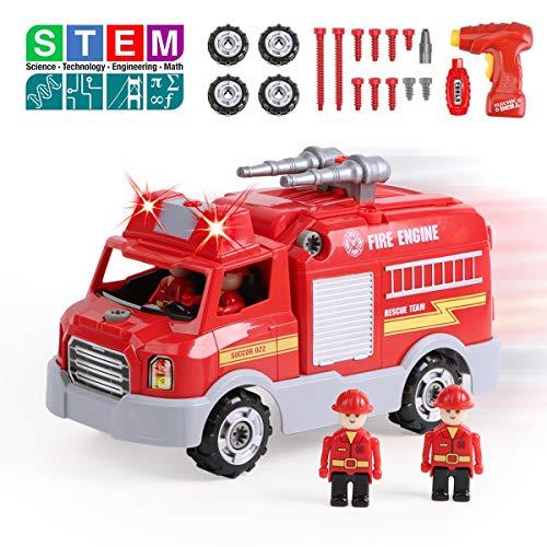 REMOKING Auto Spielzeug für Kinder, Feuerwehrauto Fahrzeuge mit Ton und Licht, Montage Spielzeug mit Drill Werkzeug, Feuerwehrmann-Rollenspiel Spielzeug Set, STEM pädagogisches Spielfahrzeug Geschenk