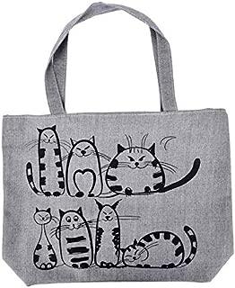 Gimax Shoulder Bags - 1PCS a Main Femme de Marque Women Cartoon Cats Printed Beach Zipper Bag Bolsa Feminina Canvas Tote Shopping Handbags sac - (Color: Grey)