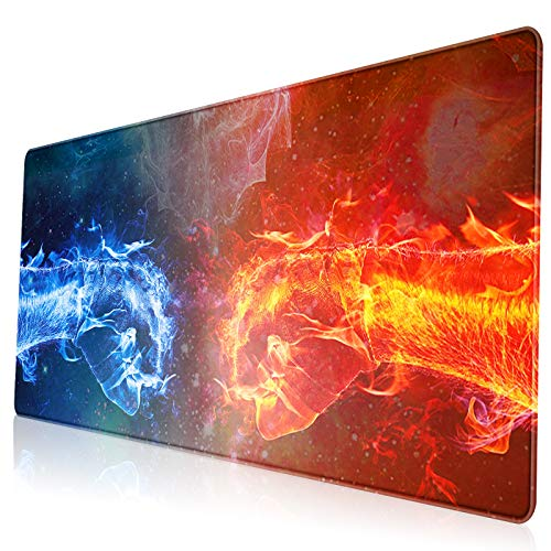 VESMATITY XXL Extended Mouse Pad Gaming Mouse Pads with Stitched Edges Computer Full Desk Large Mouse Pads Non-Slip Base Desk Mat for Gaming and Office (31.5x11.8x0.12In,Ice and Fire)