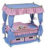 OTTO Lit a baldaquin Princesse pour Poupon 41 cm Max - Rose / Bleu - mobilier Poupee