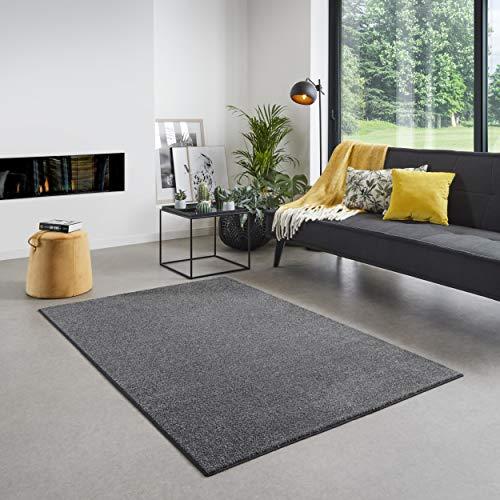 Carpet Studio Santa Fe Teppich Wohnzimmer 160x230cm, Teppich Grau für Schlafzimmer, Esszimmer & Wohnzimmer, Einfach zu Säubern, Weiche Oberfläche, Kurzflor - Anthrazit/Grau