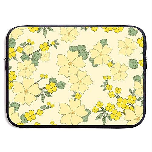 Yellow Flower Handle Laptop Sleeve- Stylish Cute Neoprene Notebook Handbag 33cm*25.5cm*3.5cm