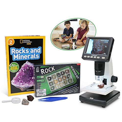IQCREW by AmScope Kid's Premium Portable LCD Color Digital Microscope with Rock and Mineral Collecting Look and Learn Activity Kit