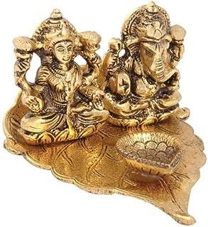 Handicrafts Paradise Lakshmi Ganesh Diya on pipal Leaf with Diya Antique Gold Plated