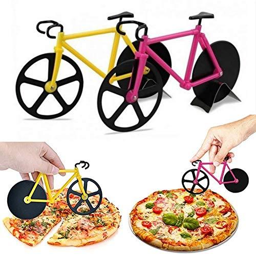 MZY1188 Edelstahl-Pizzaschneidrad-Fahrrad-Pizzaschneider-Räder,Zwei Räder Chopper Slicer Edelstahl Küche Bike Pizza Cutter Tools